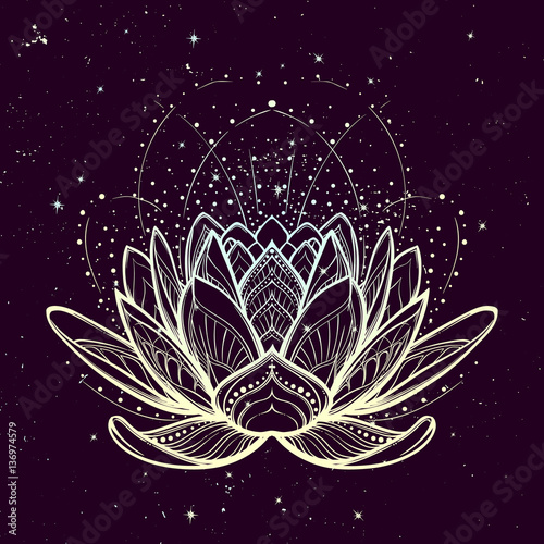 Lotus flower intricate stylized linear drawing on starry nignt sky lotus flower intricate stylized linear drawing on starry nignt sky background concept art for mightylinksfo