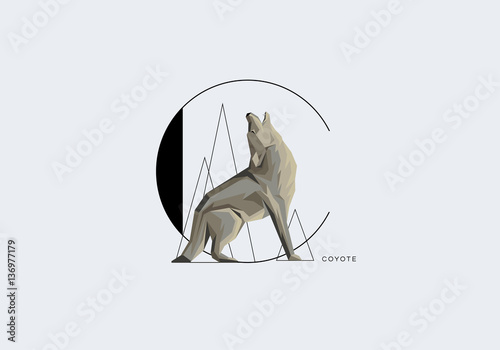 Tableau sur Toile Capital letter C decorated with howling coyote