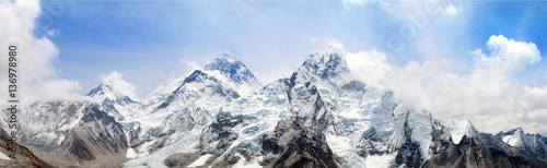 Photo Stands Mountains himalaya, Mount Everest with beautiful sky
