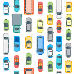 Tapeta Cars Top View Background Pattern. Vector