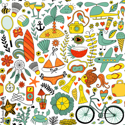 Cotton fabric Summer vacation set doodle elements, seamless pattern