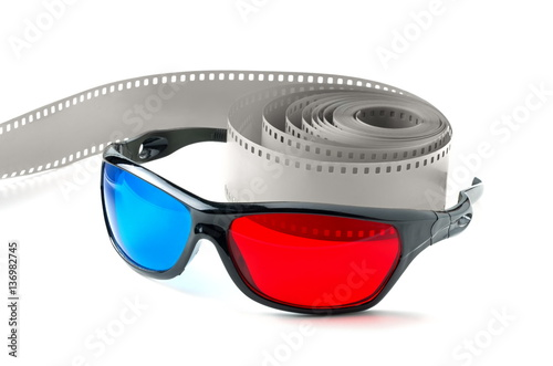 3d glasses and  film strip on a white background Canvas Print