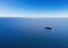 Aerial View Of Big Yacht In Sea