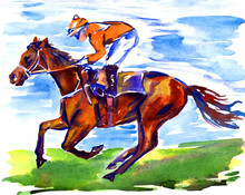Athlete Jockey On Horseback Pa...