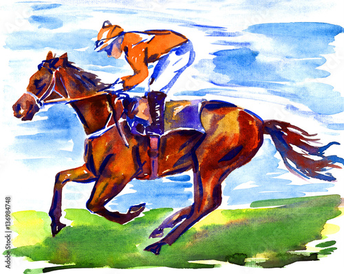 Poster Ouest sauvage Athlete jockey on horseback participating in racing on the racetrack on a sunny summer day, hand painted watercolor illustration