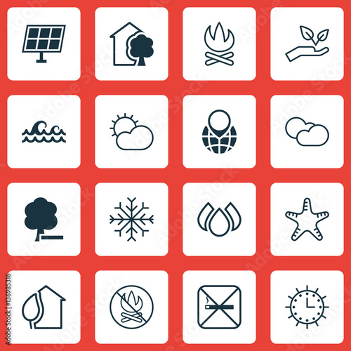 Set Of 16 Ecology Icons Wallpaper Mural