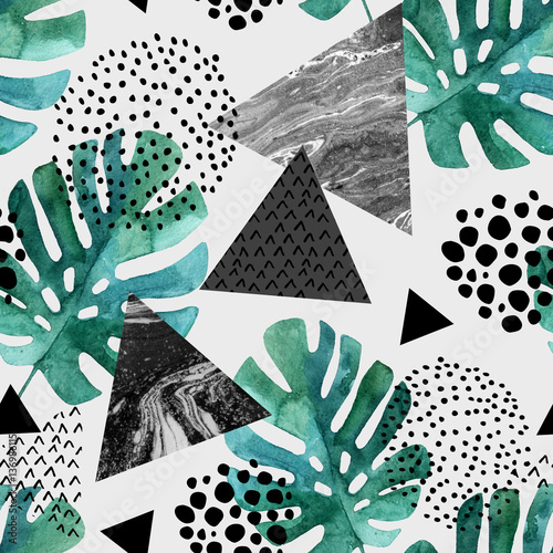 Recess Fitting Graphic Prints Abstract background with watercolor tropical leaves and textured triangles