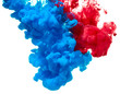canvas print picture - Blue and red ink splash