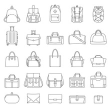 Outline Set Of Women's And Men's Bags. Many Types Of Casual Handbag. Isolated Illustrations On White Background. Retro Style. Travel Luggage, Sports Bags, Clutches. Line Icons