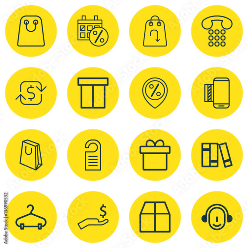 Set Of 16 E-Commerce Icons Poster