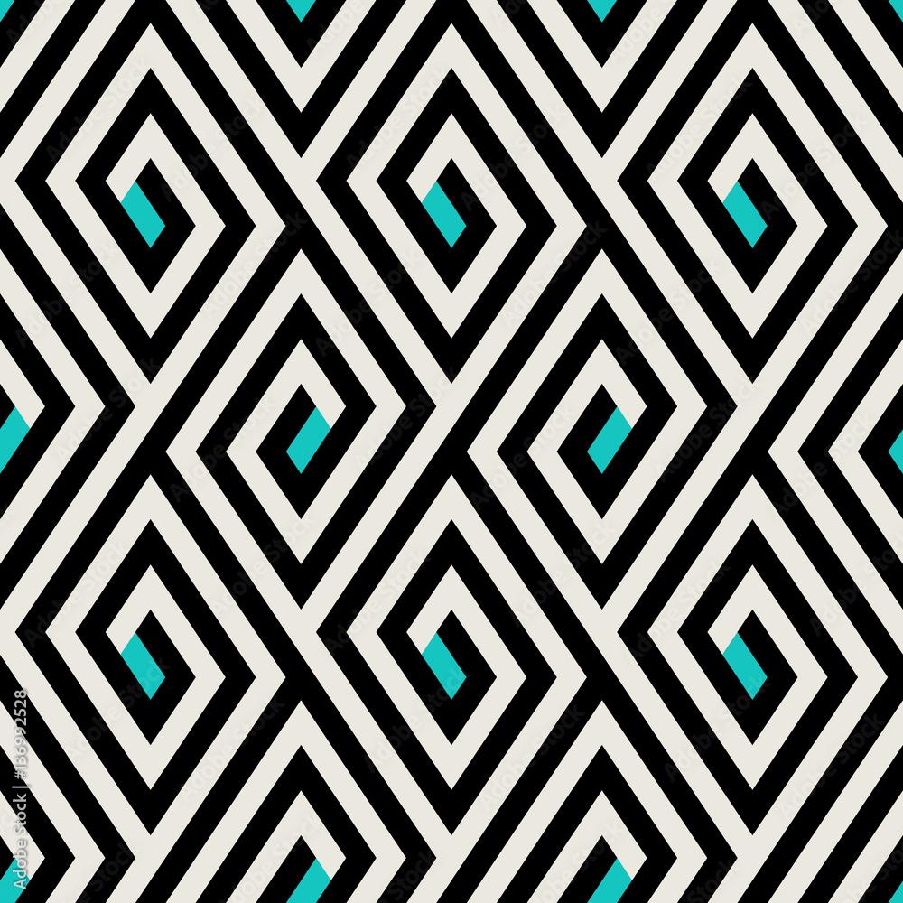Fototapeta Pattern with stripe, chevron, geometric shapes