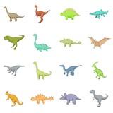Fototapeta Dinusie - Different dinosaurs icons set, cartoon style