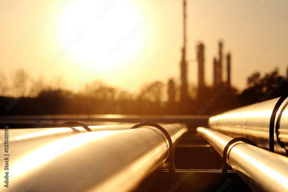 Fototapety, obrazy: golden steel pipe network in crude oil refinery