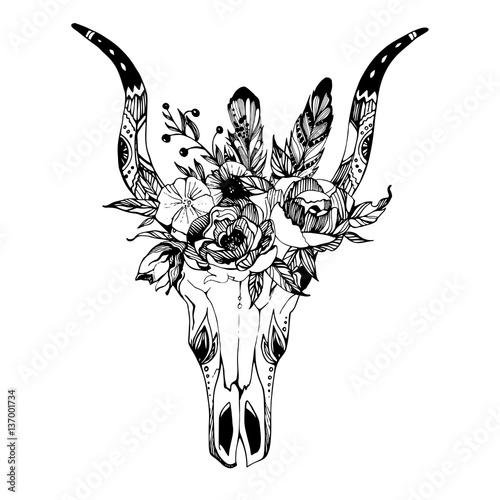 boho-chic-image-fashion-illustration-dzika-czaszka-z-kwiatami-boho-style-for-t-s