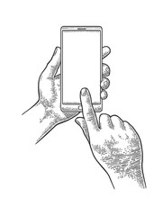 Smartphone Hold Male Hand. Vintage Engraving