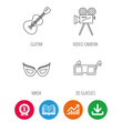 Guitar music, video camera and theatre mask icons. 3d glasses linear sign. Award medal, growth chart and opened book web icons. Download arrow. Vector