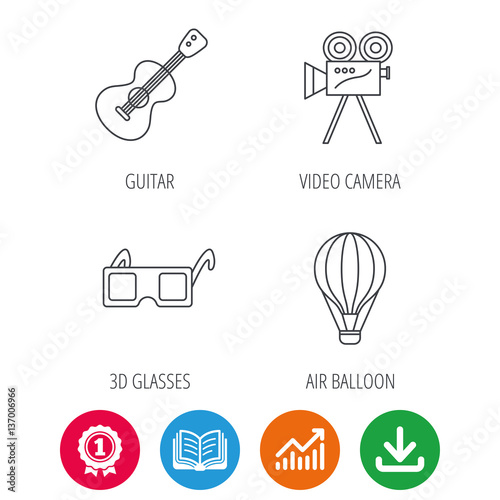 Guitar music, 3d glasses and air balloon icons  Video camera linear