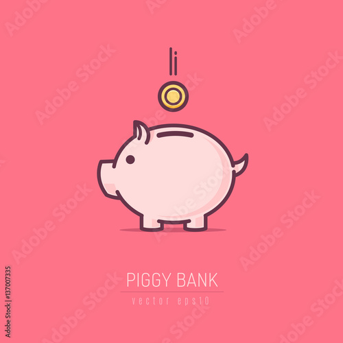Piggy bank simple vector illustration in flat linework style Canvas
