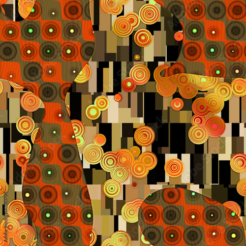 Abstract pattern in Gustav Klimt style  - 137010706