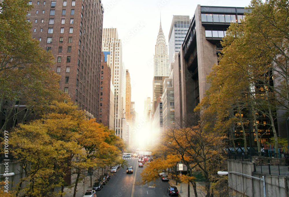 Fototapety, obrazy: New York City skyscrapers from Tudor City