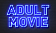 canvas print picture - Adult movie neon sign