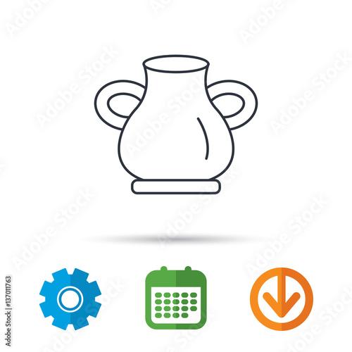 Vase icon  Decorative vintage amphora sign  Calendar