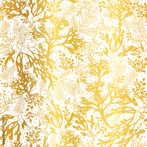 Vector Gold And White Seaweed Texture Seamless Pattern