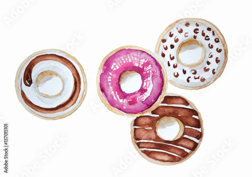 Foto op Aluminium Buffet, Bar Donuts set hand drawn watercolor painting on white background . isolated pictures for object or background