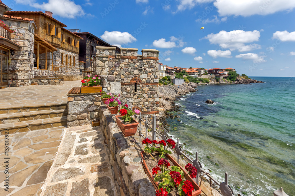 Fototapety, obrazy: Amazing panorama with Ancient fortifications in old town of Sozopol, Burgas Region, Bulgaria