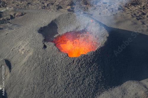 Fotografie, Tablou Erupting volcano, molten magma. Reunion island, France