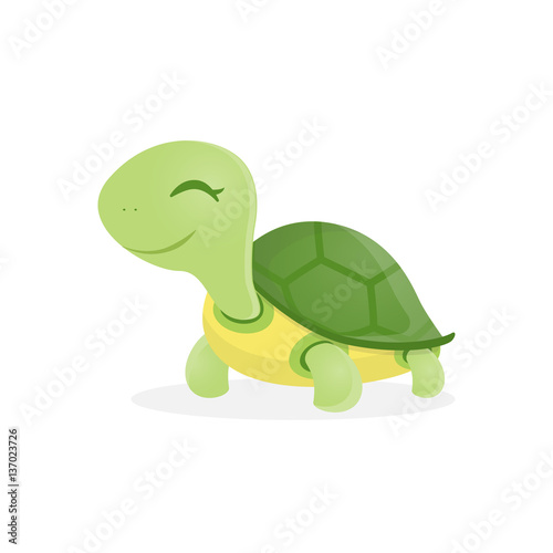 Fotografie, Obraz  Happy cute turtle walking with smile, Vector illustration.