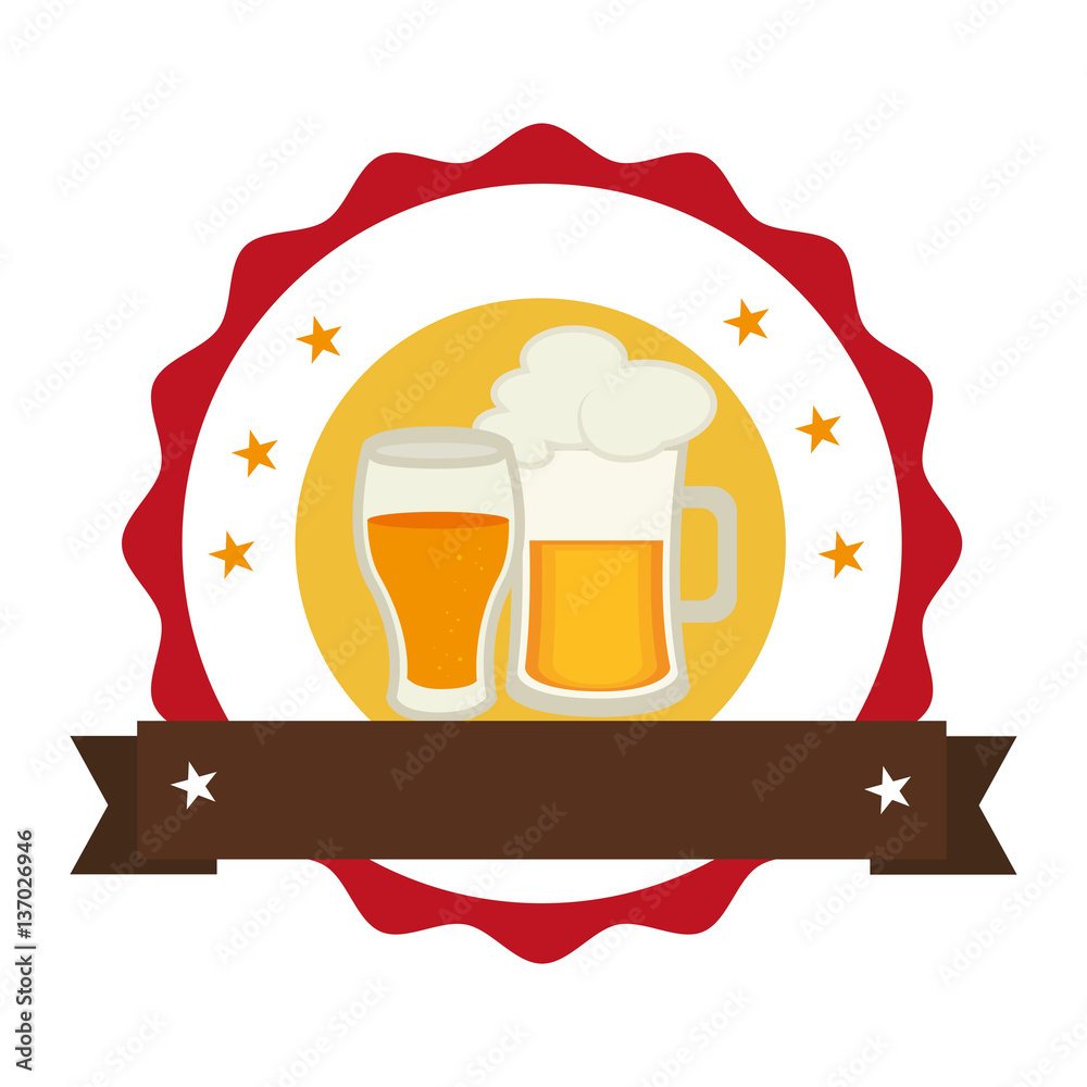 Circular Stamp With Foamy Beer Jar And Glass Cup Vector Illustration Foto Poster Wandbilder Bei EuroPosters