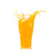 Orange juice splashing out of glass on Isolated white background.