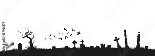 Fotografía Black silhouettes of tombstones, crosses and gravestones