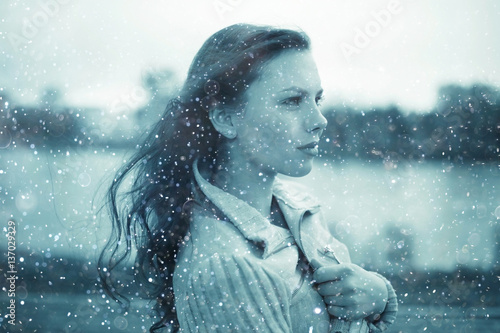 Fototapety, obrazy: Winter portrait of young girl with snowflakes in the air