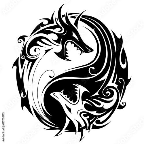 Valokuva  Yin yang dragons