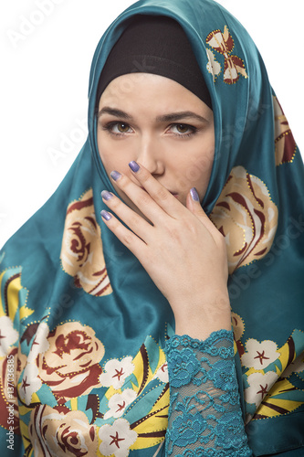 Fotografie, Tablou  Female wearing a hijab, conservative fashion for muslims, middle east and eastern european culture