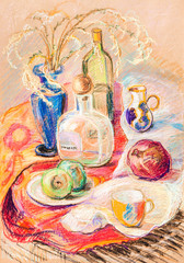 Obraz still life on cloth