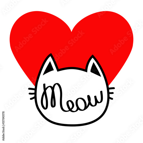 White Cat Head Silhouette Shape Meow Lettering Text Love Card