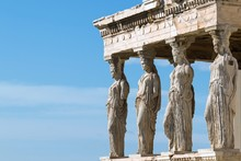 Athens, Greece - February 14, 2017: The Caryatid Porch Of The Erechtheion Temple At Acropolis Hill, 421–407 BC