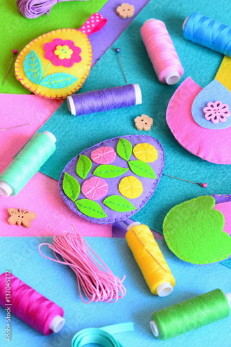 Felt Easter Eggs Ornaments Beautiful Easter Crafts Set Colored