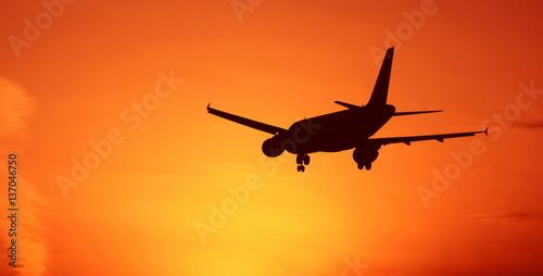 Fotografering  Sunset aircraft