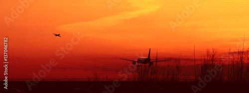 Fotomural  Sunset aircraft