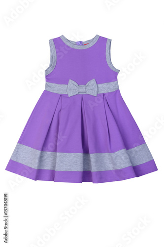 Canvas Prints Fairytale World Beautiful lilac summer dress for girls of school age. Isolated on a white background.