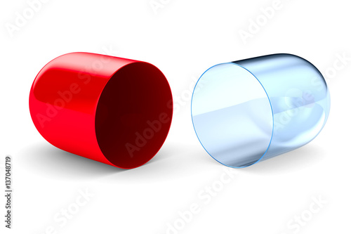 capsule on white background. Isolated 3D image Obraz na płótnie