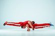 The two gymnastic acrobatic caucasian men on balance pose