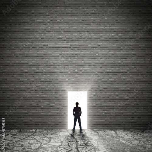 Rear view of a business man against the  door exit of the room  Wall mural