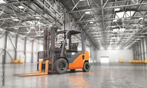 Fotografie, Obraz  Concept of warehouse. The forklift in the empty big warehouse on