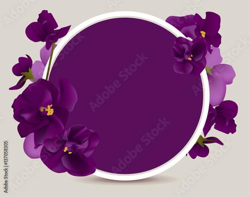 Fotografering Violet flower round frame