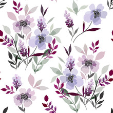 Seamless Floral Pattern With Abstract Elements Of Meadow Plants On A White Background.